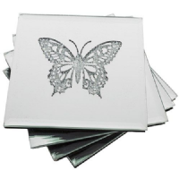 Quality Sparkle Butterfly Set Of 4 Glass Coasters